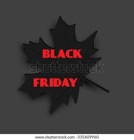 Black Friday sale, autumn leaf. - stock vector