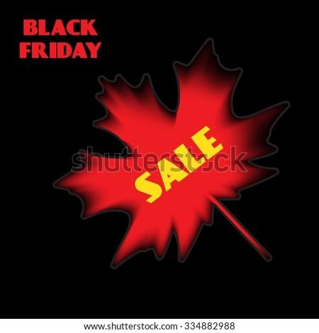 Black Friday sale, autumn leaves. - stock vector