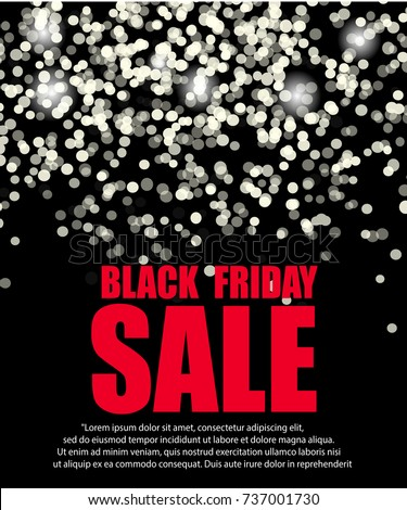 Black Friday Sale Background White Lights Bokeh Vector Illustration