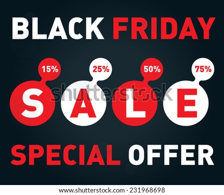 Black friday sale banner on dark background. Discount card Vector design template. - stock vector