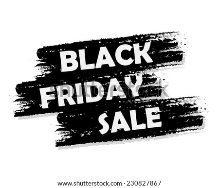 Black friday sale banner - text in black drawn label, business seasonal shopping concept, vector