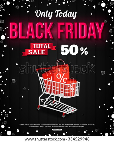 Black Friday Sale black background with snowflakes and shopping cart. Vector illustration.