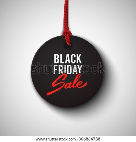Black Friday sale black tag, round banner, advertising, vector illustration - stock vector