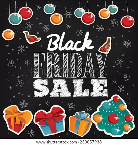 Black Friday Sale card with gifts - stock vector