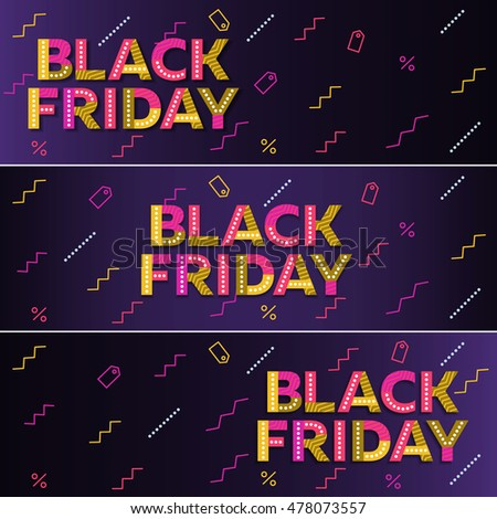 Black friday sale. Dark blue web banner. The original inscription. Advertising. Poster Sale. Vector illustration