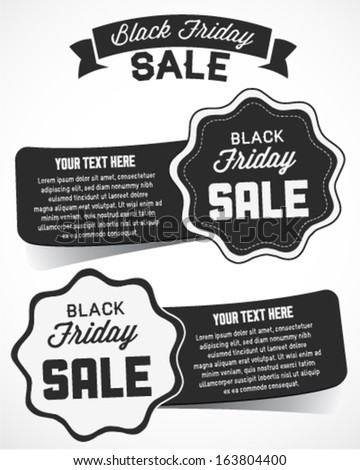 Black Friday Sale Editable Vector Badges in Vintage Style