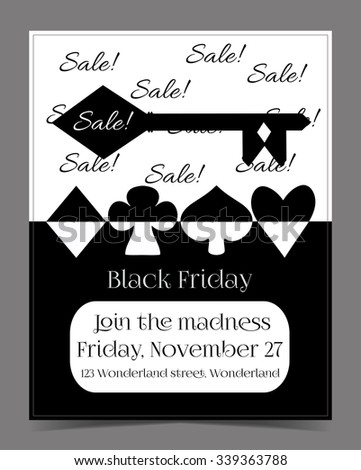 Black Friday Sale in Wonderland Banner, Card, Brochure - the Key. Printable Vector Illustration for Graphic Projects, Parties and the Internet.