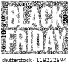 Black Friday sale indication. Word cloud, tag cloud text business concept. Word collage. Vector illustration. - stock vector