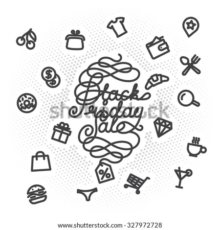 Black Friday Sale lettering with shopping icons. letters with decoration elements