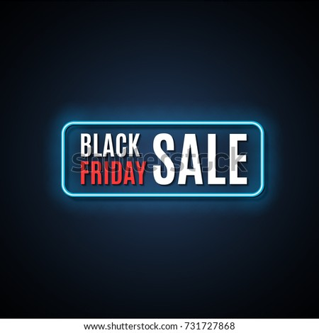 Black Friday Sale Neon Light Sign Vector Illustration