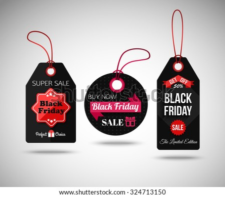 Black Friday Sale paper tags. Isolated labels. Vector illustration. - stock vector