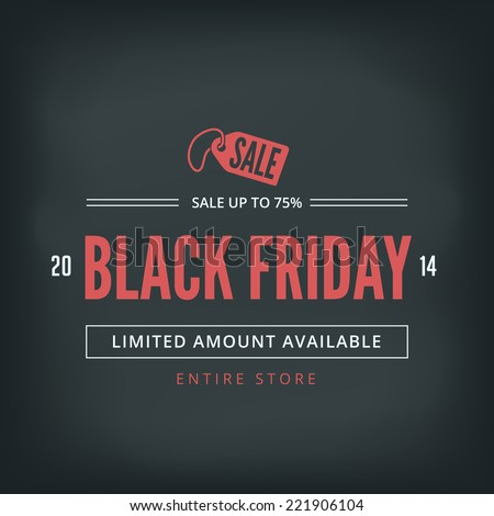 Black Friday Sale Poster design Typography vector template Retro style. Vintage Banner. - stock vector