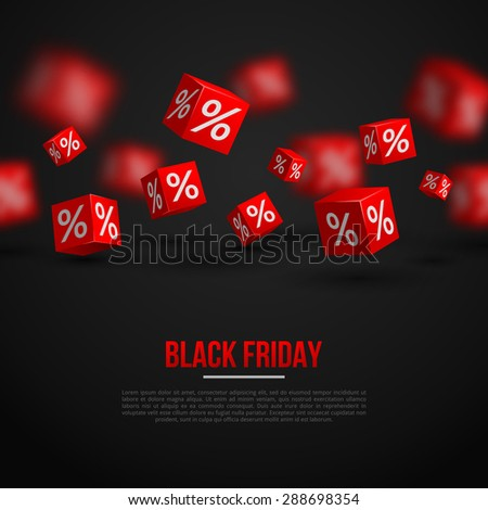 Black Friday Sale Poster. Vector Illustration. Design Template for Holiday Sale Event. 3d   Cubes with Percents. Original Festive Backdrop. - stock vector