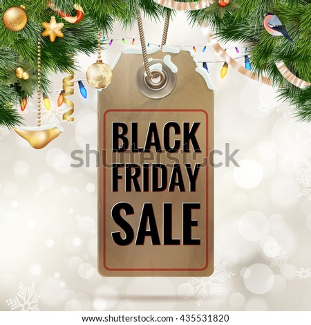Black Friday sale realistic paper price tag on Christmas background with snow. EPS 10 vector file included - stock vector