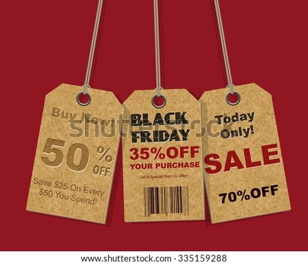 Black Friday sale realistic tag - stock vector