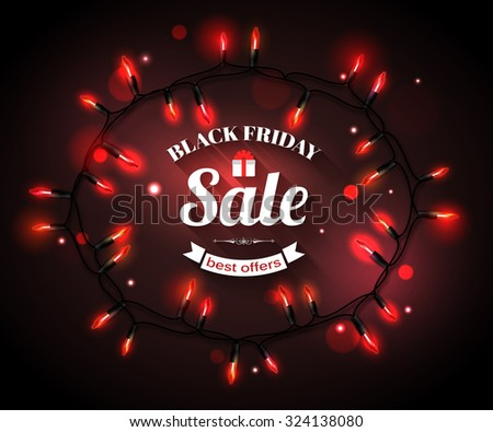 Black Friday Sale shining typographical background with xmas tree lights, shopping cart and place for text. Vector illustration. - stock vector