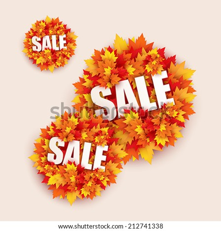 black friday sale shopping banner shaped with autumn leaves design - vector - stock vector