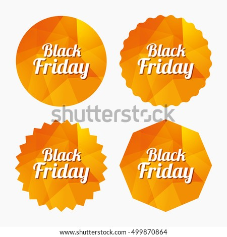 Black Friday sale sign icon. Special offer symbol. Triangular low poly buttons with flat icon. Vector