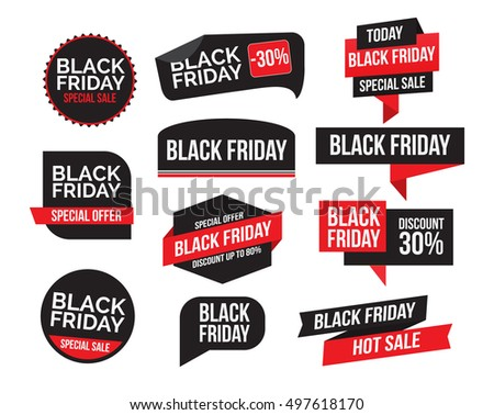 Black Friday sale sign, logos and labels collection