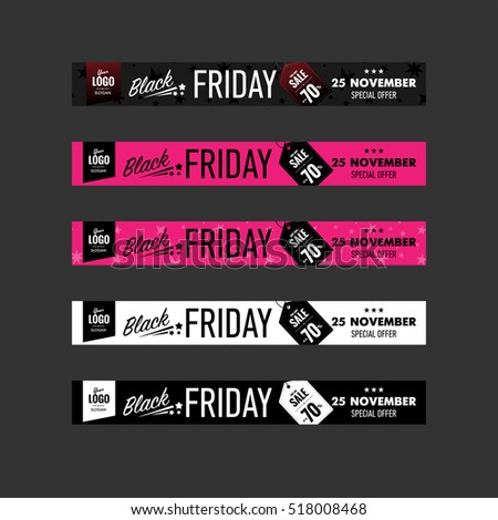 Black Friday sale, special offer. Horizontal banners set. Web, print