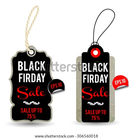 Black Friday Sale Tags - stock vector