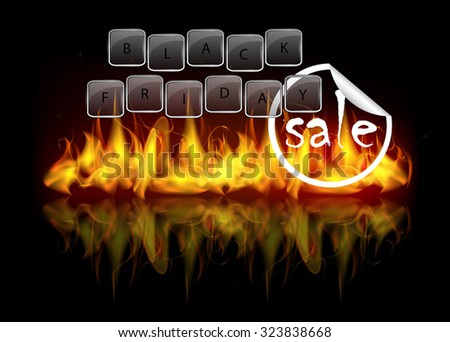 Black friday sale theme. Beautiful vector glossy glass keyboard keys and fire flames - stock vector