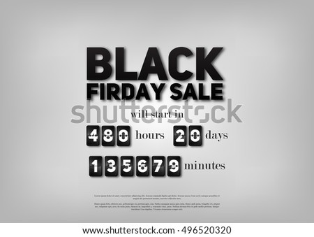 Black Friday Sale. Timer Before Sales. Vector Illustration