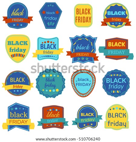 Black Friday Sale Vector Badges and Labels. Set of Black Friday Stickers and Banners. Vector Elements on White Background.