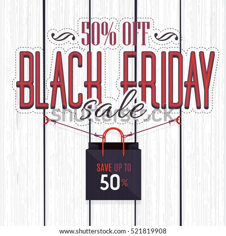 Black Friday Sale Website Banner, White Wooden Background, Web Layout Ad Vector Cover. Hanging Shop Bag, Business Advertisement Design with Creative Wood Style Realistic Illustration