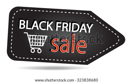 Black friday sales tag isolated on transparent background - stock vector