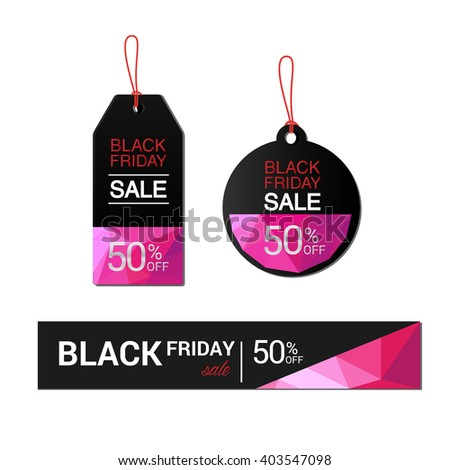 Black Friday sales tag, sale, discount, advertising, marketing price tag. - stock vector