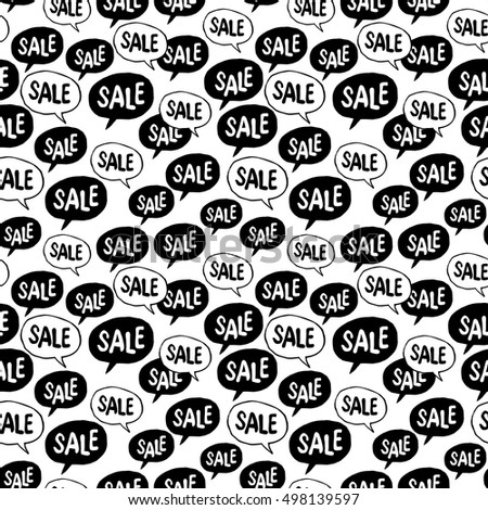 "Black Friday Seamless pattern. Speech Bubble with ""Sale"" Word. Background for ""black friday"" advertising projects"