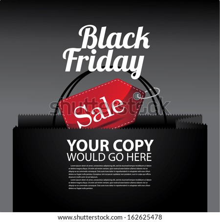 Black Friday shopping bag and sales tag marketing template. EPS 10 vector. grouped for easy editing. No open shapes or paths. - stock vector