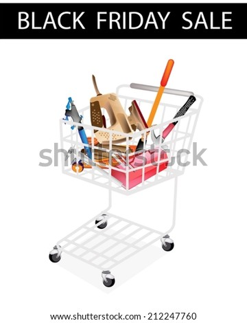 Black Friday Shopping Cart Full with Various Type of Auto Service and Repair Tool Kits for Black Friday Shopping Season and Biggest Discount Promotion in A Year.
