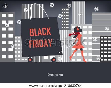 Black Friday shopping poster or flyer with elegant figure shopping. Eps10 vector illustration. - stock vector