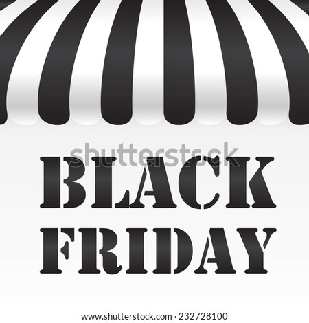 Black Friday text on black and white awning background - stock vector