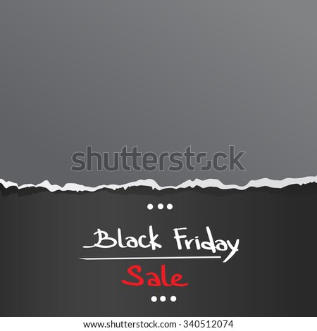 Black Friday Torn Curved Wrapped Paper Sale Red Tag Banner Copy Space Vector Illustration - stock vector