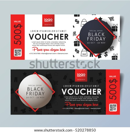 Black Friday voucher card vector template