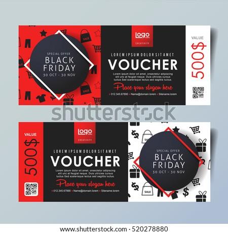 Black Friday Voucher Card Vector Template Stock Vector HD (Royalty ...