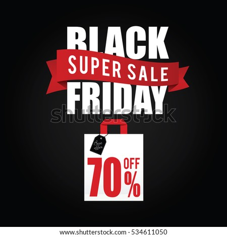 black friday with paper bag sale color illustration on black
