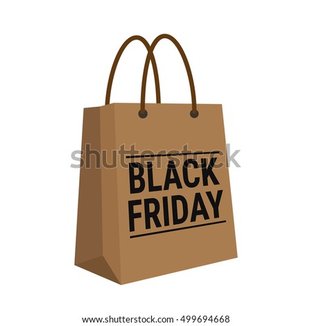 Black friday, wording on brown shopping bag on white background, EPS10 vector Illustration.