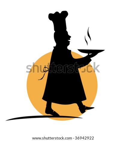 Black funny silhouette of cook with plate