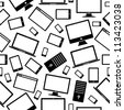 Black gadgets icons seamless pattern isolated over white. Vector illustration layered for easy manipulation and custom coloring. - stock vector