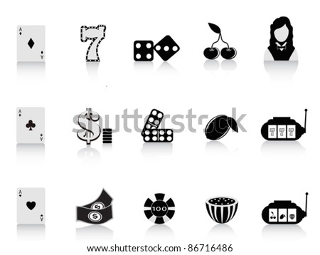 black gambling icon - stock vector