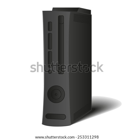Black game console in vector (EPS) for gamers and games, computer case, system unit - stock vector