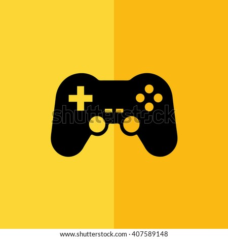 Black game controller icon vector illustration. Yellow background - stock vector
