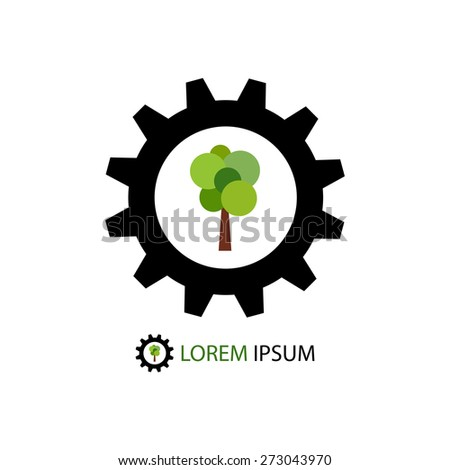 Black gear wheel with green tree as logo of timber industry - stock vector