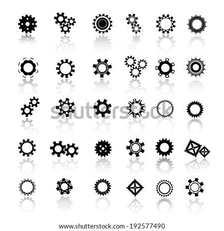 Black gears and cogs icons set, vector illustration - stock vector