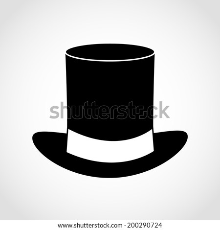 Black gentleman hat Icon Isolated on White Background - stock vector