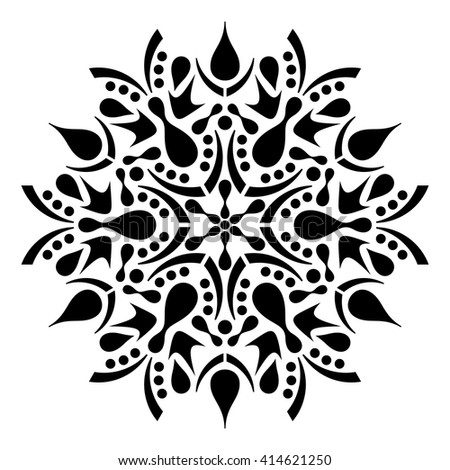 Black geometric abstract round mandala vector illustration - stock vector